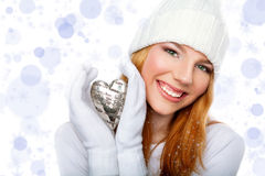 Girl holding valentine heart  isolated on sparklin Stock Images