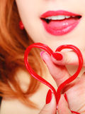 Girl holding valentine red heart love symbol. Valentines day. Royalty Free Stock Photography