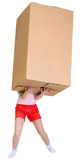 Girl holding very heavy brown cardboard box. On the white Stock Photos