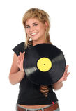 Girl holding a vinyl record Stock Images