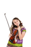Girl holding violin portrait isolated on white Stock Photography