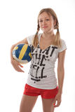 Girl holding volleyball ball Royalty Free Stock Photo
