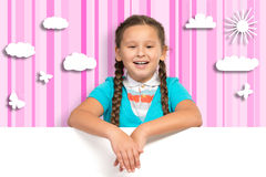 Girl holding a white banner stock images