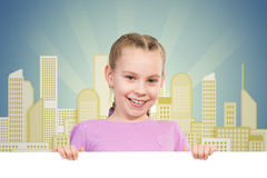 Girl holding a white banner Royalty Free Stock Photos