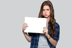 Girl holding white billboard Stock Photography