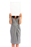 Girl holding a white board Stock Photo