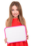 Girl holding a white board Royalty Free Stock Images