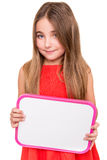 Girl holding a white board Stock Photography
