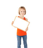 Girl holding white board Royalty Free Stock Photos