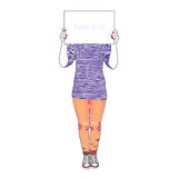 Girl holding white paper Stock Photography