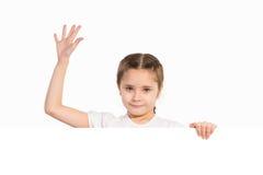 Girl holding white poster stock images