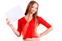 Girl holding white sheet Royalty Free Stock Photos