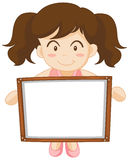 Girl holding whiteboard in hands Stock Image