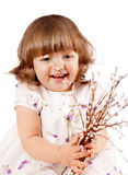 Girl holding a willow Stock Photo