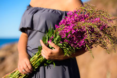 Girl holding a willow-herb bouquet. Blooming Sally Stock Photography