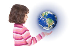 Girl holding world on hand. Girl holding world suspended above hand. Isolated on white Stock Photos