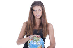 Girl holding world on her hands Stock Photography