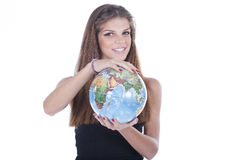 Girl holding world on her hands Royalty Free Stock Image