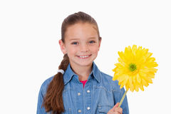 Girl holding a yellow flower Royalty Free Stock Image