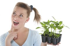 Girl holding young plants Royalty Free Stock Photos
