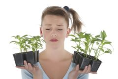 Girl holding young plants Royalty Free Stock Photography