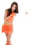 Girl holdinh blank billboard Stock Photo
