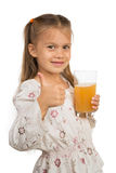 Girl Holdng Glass With Apple Juice Showing Thumb Up Stock Photos