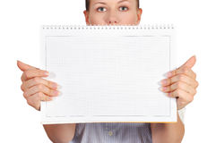 Girl holdng note pad Royalty Free Stock Photos