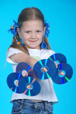 The girl holds 6 CD Royalty Free Stock Images