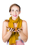 Girl holds autumn leaves Stock Photography