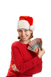 Girl holds banknotes in a hand Stock Photography