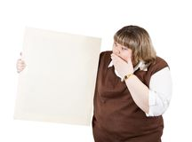 Girl holds blank canvas. Large girl holds blank canvas. It is isolated on a white background Stock Photo