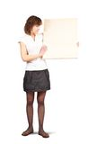 Girl holds blank canvas Royalty Free Stock Photography