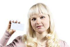 Girl holds a business card Stock Image