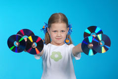 The girl holds CD Royalty Free Stock Images