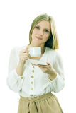 The girl holds a cup with hot drink Stock Image