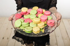 A girl holds a dish with cookies. A girl holds a dish with cookies which have different colors Stock Images