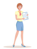 Girl holds a document. Royalty Free Stock Photos