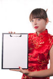 Girl holds a folder. The beautiful girl holds a folder with a sheet of paper Royalty Free Stock Image