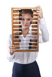Girl holds in front of abacus Stock Photography