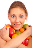 Girl holds fruit Royalty Free Stock Photos