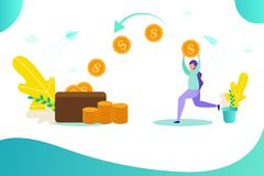 Girl holds gold coin, wallet with money, concept of earning online, receiving money royalty free illustration
