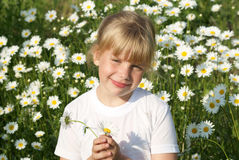 The girl holds in a hand of a camomile Stock Photos