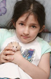 The girl holds in hands. Of a hamster Royalty Free Stock Photos