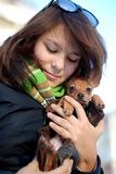 The girl holds on hands of a favourite puppy. The photo is made in November in Ekaterinburg, Russia royalty free stock photos