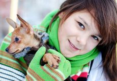 The girl holds on hands of a favourite puppy. The photo is made in November in Ekaterinburg, Russia royalty free stock photography