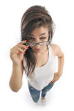 Girl holds her glasses Royalty Free Stock Photos