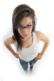 Girl holds her glasses Stock Photography