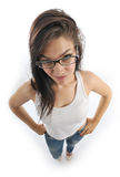Girl holds her glasses Stock Images