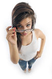 Girl holds her glasses Stock Image